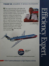 7/1990 PUB FOKKER AIRCRAFT FOKKER 100 USAIR AIRLINE ED SLOMKA ORIGINAL AD