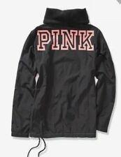 Victoria's Secret PINK Anorak Jacket Black Pink Pullover Fleece Lined L Large
