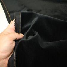 schwarz Samt aus Baumwolle Stoff mit Goldkante Meterware für Deko Kleidung Tolko