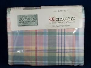 JC Penney Pastel Plaid Full Flat Sheet Vintage Made in USA