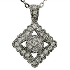 Diamond Necklace Art Deco Necklace Vintage Milgrain Diamond Pendant 14k Gold