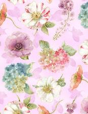 Medium Floral, Watercolor Pastels, Lavender Back, Rainbow Seeds, WP (By 1/2 yd)