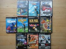Lot of 10 PS2 Games - Jimmy Neutron Nemo H30 Nascar Real pool Jak Daxter NHL 007