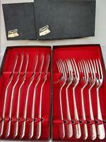 12 pce Rare Royal King George Old English Silver Plate fish knives forks box 30s