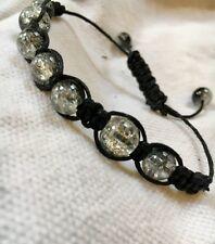 Shamballa bracelet with black cord and glass beads, bodhi bracelet