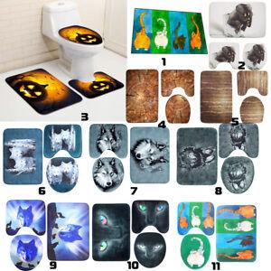 3pcs anti slip mat bath toilet lid cover mat flannel
