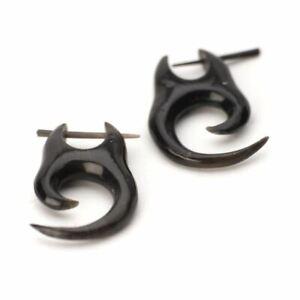 81stgeneration Black Horn Spiral Tribal Stick Hand Carved Earrings