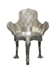 Handmade Chair Metal Coated Wooden Peacock Shape Home Decor Furniture US637MF