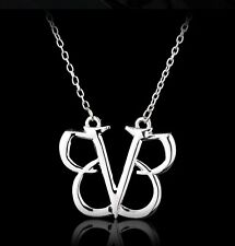 FREE GIFT BAG Silver Plated Black Veil Brides Pendant Necklace Music Jewellery