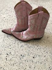 Old Gringo Women's Boots Pink Embroidered Rhinestone Flower Size 8