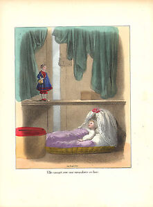 1870 lithograph from jules desandre . baby in a crib looking at a doll