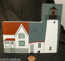 Cape Neddick Light Wood Lighthouse Model York Maine Folk Art hand painted house