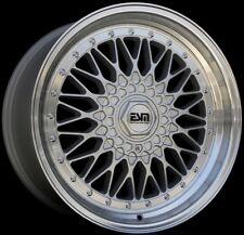 17x8.5/10 ESM 002R WHEELS STAGGERED 4X100 +20/15 SILVER RIM FITS BMW E30 1986-91