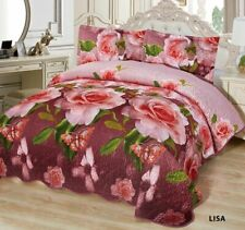 3-Pcs California King Quilted Reversible VELVET Bedspread Coverlet Set - LISA