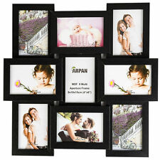 Black Multi Aperture Photo Picture Frame - Holds 9 X 6''X4'' Photos  CL-1015BK9