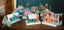 Vintage Japan Christmas Glitter Paper Mache 12 Houses 10 bottle trees Fun Lot!