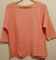 Marks and Spencer M&S soft Coral lightweight 3/4 sleeve lace top UK size 16