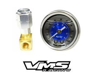 VMS RACING FUEL PRESSURE GAUGE KIT BLUE FOR 94-96 BUICK ROADMASTER LT1