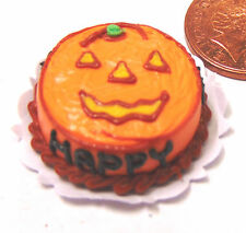 1:12 Scale Pumpkin Face Halloween Cake Dolls House Miniature Food Accessory HV