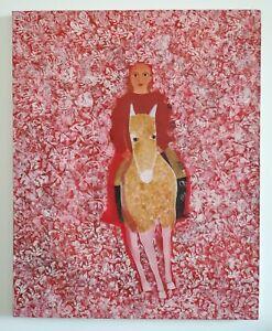 Huile sur toile ( naïve ), jeune fille sur un âne entourée de fleurs 81x65 cm