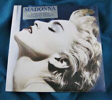 MADONNA TRUE BLUE 12'' VINYL LP RECORD GOLD STAMP PROMO w HYPE STICKER & POSTER