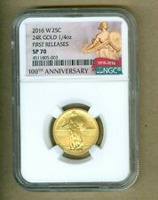 2016 W 25C STANDING LIBERTY GOLD QUARTER NGC SP 70 100TH ANN EARLY RELEASE LABEL