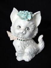 New listing ViNtaGe 60's White Kitten Cat Figurine Child's Piggy Bank RhiNeStoNe EyEs CoLlaR