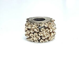 PANDORA GOLDEN FLOWER CLIP 14K YELLOW GOLD CHARM 585 ALE 750507