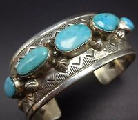 Signed Vintage NAVAJO Stamped & Repoussé Sterling Silver TURQUOISE Cuff BRACELET