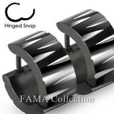Fama Stainless Steel Black Wide Hoop Earrings with Tribal Inspired Faceted Cuts