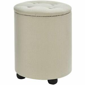Storage Ottoman Footstool Round Compartment Padded Linen Bin Seat Narrow White