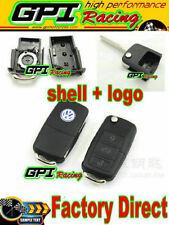 VW VOLKSWAGEN FLIP KEY REMOTE FOB SHELL + Logo Badge Emblem CAS GOLF PASSAT