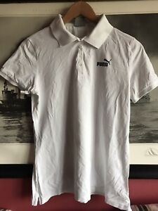 Puma Womens White Polo T-Shirt Top Size 12