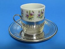 Lot of 4 Demitasse White Porcelain Cups Silverplated Kitchen Coffee Tableware