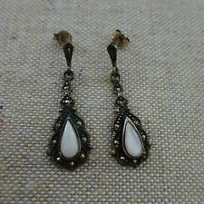Sterling Silver Marcasite and White Stone Dangle Earrings