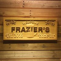 wpa0156 Name Personalized Home Bar Established Year Beer Wooden Sign