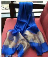 Thai Hand Woven Tie Dyed Sheer Raw 100% Silk Scarf Sapphire Blue Color Tone