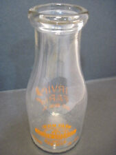 VINTAGE 1 QT. GLASS MILK DAIRY BOTTLE IRVIN FARM GOLDEN GUERNSEY RAW BIG RUN PA.