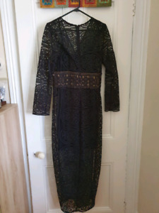 Thurley Size 10 Black Lace midi dress
