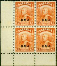Sarawak 1945 12c Orange SG134 Fine MNH Block of 4