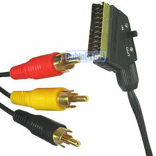 GOLD SCART 3 x TRIPLE RCA PHONO PLUGS CABLE IN INPUT OUT OUTPUT LEAD 1.5M