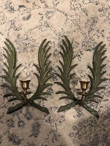 Bard Vintage Candle Wall Sconce Holders Metal Pair Decor India Art Green Leaves
