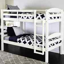 White Twin Over Twin Bunk Bed Convertible Kids Wood Bedroom Furniture Dorm Ladde