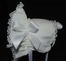 New Handmade White Linen with White Lace and Satin Ribbon Baby Bonnet