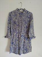 Coldwater Creek Women's Blue Gray Batik 100% Linen Tunic Dress Size S