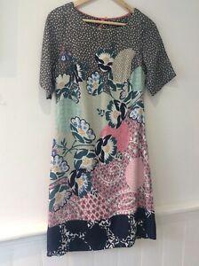 White Stuff grey, teal, blue, pink pat shift tunic dress size 10