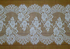 LOT 3Meters French Style Chantilly Eyelash Double Edge Lace Trim Bright White