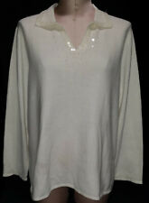 MERCER STREET Womens Beaded Collar Arm Cuffs Pullover Sweater Off White Size 2X