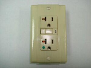 Vintage Uniline Ivory Decora GFCI Switch Outlet Cover Plate Bryant / P&S Ribbed