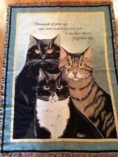 Black White Tabby Cats funny quote saying Cotton Woven Throw Afghan Blanket NEW